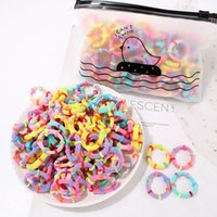 Hair Accessories 100pcs Elastic Hairbands Children Girls Bamboo Knots Ponytail Holder Scrunchie Rubber Band Ties Candy Color