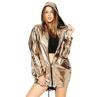 Women' s Jackets Metallic Color Bomber Jacket Womens Out...
