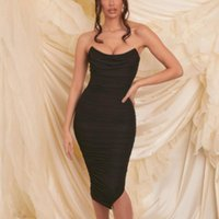 Casual Dresses Donsignet Fashion Women's Dress Summer Tube Top Pullover Solid Color Sexy Mesh Open Back Pleated Midi