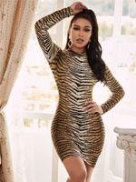 Outono super sexy tigre impressão apertada dress bunda 2497