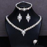 Boucles d'oreilles Collier Missvikki Italien 4pcs Bracelet Bague Pour Noble Pearl Femmes De Prestige Mariée Mariage Mariage Ensembles de bijoux 2021
