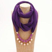 Colares de pingente 3 cores design lenço colar para mulheres moda pérola jóias de proteção sol muçulmana proteção chiffon embrulhado