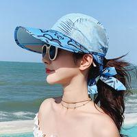 2021 المرأة الشاطئ الصيف سفر قبعة واقية من الشمس يسافر عطلة الأزياء والأرشية الشمسية القبعات مع مربع