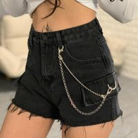 Women's Jeans Women Korean High Waist Short Washed Fake Pockets Edge Chain Denim Shorts Thin Wide Legs