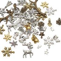 1セットクリスマステーマチャームペンダントチベットスタイルサンタクロースディアantlerスノーフレークソックスツリースタージュエリーネックレスギフト