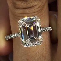 2020 Emerald cut 3ct Lab Diamond Ring 925 sterling silver Jewelry Engagement Wedding band Rings for Women Bridal Party accessory Y0723