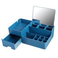 Makyaj organizatör kozmetik için büyük kapasiteli saklama kutusu masaüstü takı oje çekmece konteyner kutuları kutuları