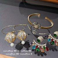 Luminous Peach Heart Ball Diamond Earrings Bracelets Snowflake Micro-Inlaid Rainbow Zircon Tassel Earring Eardrop 18K Gold Plated Rhinestone Jewelry Sets