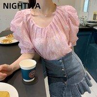 Kadın Bluzlar Gömlek Nightwa Koreli Kadınlar Çiçek Baskı V Yaka Şifon Tatlı Zarif Kadın Top Yaz Tatil Günlük Rahat
