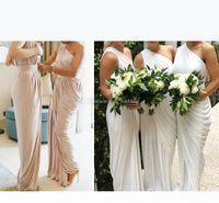 Elegant One Shoulder Champagne Bridesmaid Dresses Draped Satin Long Ivory Purple Party Dresses Maid Of Honor Split Wedding Guest Dresses