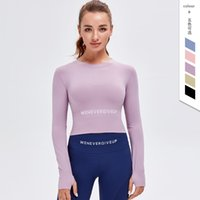 Autumn Winter yoga sports bra women gym fitness misshine clothes t shirts long sleeved padded half length running slim athletic workout top