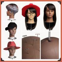 Ago morbido PVC Bald Mannequin Head Stand Supporto per la realizzazione di parrucche per capelli parrucche e cappello Display Cosmetology Training Manikin Modello di pratica