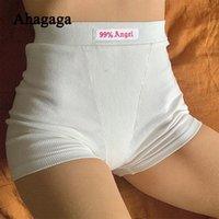 Ahagaga التطريز المرأة أزياء 99٪ انجيل إلكتروني طباعة مرونة عالية الخصر السراويل السراويل الرياضية اللياقة السراويل القصيرة