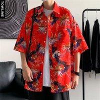Erkek Casual Gömlek Yaz Hawaii Erkek Çiçek Baskılı Kısa Kollu Gömlek Harajuku Streetwear Adam Moda Kadınlar Büyük Boy Bluz Tops