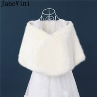 Wraps & Jackets JaneVini Ivory Formal Faux Fur Bolero For Women Winter Wedding Red Cape Evening Party Wrap Bridal Shawl Warm Girl
