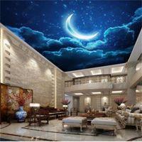 Sfondi Dimensione personalizzata 3D PO wallpaper Soggiorno Letto Soffitto Soffitto murale Notte Moon Starry Sky Immagine Backdrop Wall Sticker
