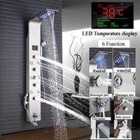 Rose Gold LED Douchepaneel Zes functies Badkolom Rain Waterfall Massage Spa Jets Tub met bidet Taps
