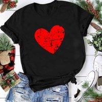 Seeyoushy Red Love 인쇄 발렌타인 데이 커플 커플 탑스 짧은 소매 5xl 캐주얼 Femme T 셔츠 Lover Mujer Camisetas 여성의 T-SH