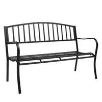 WACO 51in Garden Park Yard Patio Banco Muebles de exterior, Marco de Metal de Hierro, Construcción Durable Robura, Diseño de Desplorados, Easy Montaje