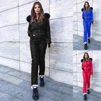 Women Playsuit Solid Color Waterproof Padded Jumpsuit Winter Warm Hooded Rompers For Outdoor Skiing Women's Tracksuits