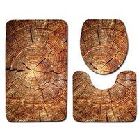 Tapetes de banho Anéis de árvore Impresso 3 pcs Conjunto de banheiro toalete Tapetes não desinfetados Capa e tapetes de tapetes Decoração