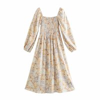 Повседневные платья Xnwmnz Цветок напечатаны MIDI для женщин с длинным рукавом квадратный воротник Драпное платье для вечеринки Элегантное богемное удаление