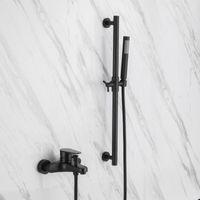 Chuveiro preto torneira de mistura parede montado banheiro Único punho misturador toque cabeça conjuntos de chuveiro slide bar-d