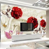 Sfondi personalizzati Personalizzato PO 3d stereoscopico rossa rossa rossa cigno gioielli soggiorno tv sfondo wall mural impermeabile tessuto di seta wallpaper wallpaper fiore
