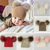 Double Pompon Hat For Kids Girls Boys Winter Cap Baby Warm Beanies Babys Knitted Cotton Children Hats Unisex