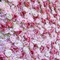 Sztuczny Flowerwall Panel Wedding Very Light Pink Peony Dark Rose Backdrop Runners Decor Diy Dekoracyjne Kwiaty Wieńce
