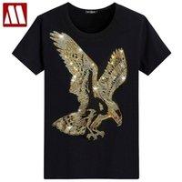 잉글랜드 스타일 멋진 Tshirt 짧은 소매 티셔츠 독수리 디자인 하단 티셔츠 인쇄 여름 라인 석 남자 패션 솔리드 mydbsh 210323