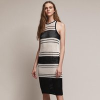 Women's Swimwear 2021 Summer Classic Black And White Striped Hollow Knit Sexy Mesh Colour Blocking Beach Dress Cover-up Swimming Costume Wom