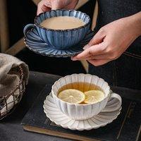 머그잔 일본어 세라믹 커피 머그잔 크리 에이 티브 국화 모양의 컵 접시 세트 간단한 레트로 오후 차