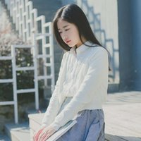 6tNew autumn and winter cardigan mercerized cotton belt pocket long sleeve sweater short et for women