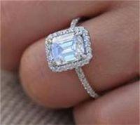Size 5-10 Sparkling Luxury Jewelry 100% Real 925 Sterling Silver Emerald Cut White Topaz CZ Diamond Gemstones Promise Women Wedd 65 L2