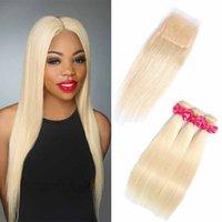 Brasilianer 613 # Blondes Reines Haar 3 Bündel mit Spitzenverschluss Top Spitze Verschluss und Bündel Seide Gerade Haarverlängerung mit Spitzenverschluss