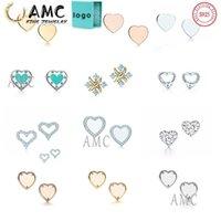 هدية مربع AMC 925 الفضة الاسترليني أقراط الكلاسيكية الحب شكل عشيق أزياء أنثى مصمم القرط بالجملة على الفور