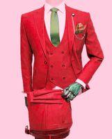 Classic One Button Wedding Tuxedos Peak Lapel Slim Fit Suits For Men Groomsmen Suit Prom Formal (Jacket+Pants+Vest+Tie) W787
