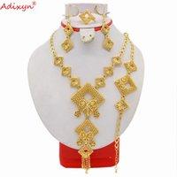 Adixyn Rhombus Form Afrikanische Perlen Jewlery Set Gold Farbe Halskette Armband Ohrringe Ring Luxus Schmuck N03106