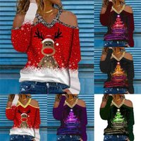 S-5XL Plus Size Womens V-Neck Blouses Christmas Xmas Classic Clothing Glitter V Neck Shoulder Out Pullover Hoodie Casual Sport Tops long sleeve T-shirt G02ANUE