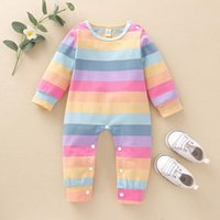 Born Baby Boy Girl Rompers Cute Striped Print Long Sleeve Crew Neck One-Piece Jumpsuit Outfit Cotton Playsuit Jumpsuits