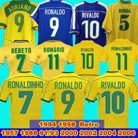 1998 Brasil Soccer V2 Jerseys 2002 Camicie retrò Carlos Romario Ronaldo Ronaldinho 2004 Camisa de Futebol 1994 Brazils 2006 1982 Rivaldo Adriano