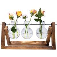 Planta de escritorio Terrarium vidrio plantador bulbo bulbo jarrón con soporte de madera sólido Bonsai creativo para plantas hidropónicas Decoración de escritorio de oficina de oficina