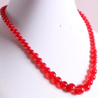 Handmade Beaded Necklace Natural Stone Round Red Jades For Women Jewelry Gift E013 Pendant Necklaces