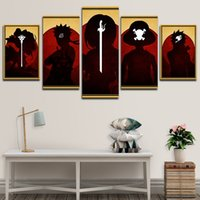 5P One Piece and Naruto Canvas Painting Luffy Wall Art HD Print Picture Anime Hanging Poster for Room Decor