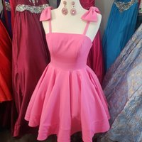 Pink Homecoming Dresses 2021 Bow Spaghetti Neckline A-Line Short Mini Cocktail Gowns for Lady Formal Event Party Wear Custom-Made acetate satin