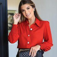 Women Elegant Solid Office Lady Blouse Long Sleeve Button Lapel Red Work Blouses Shirts Autumn Plus Size Tops Blusas Shirt 2021 Women's &