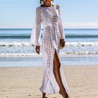 2020 вязание крючком белый вязаный пляжный прикрытие UPS платье купальники платье длинные пары купальный костюм бикини прикрытие плавание покрова