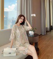 2021 мода дизайн женская бисера блестка пайетка блестка половина рукава свободных палаццо короткие повседневные платья Vestidos