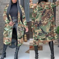 Autumn 2021 Women' s Trench Coat Camo Long Female ArmyGr...